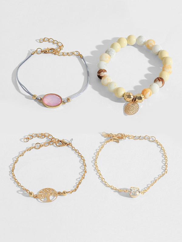 4Pcs Life Tree Beads Bracelet Set