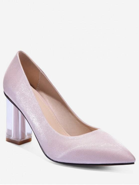 7bf401e5f8e 40% OFF  2019 Pointed Toe Clear Chunky Heel Pumps In WHITE