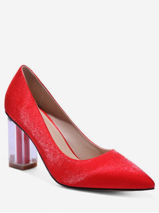 3d7427df418 40% OFF  2019 Pointed Toe Clear Chunky Heel Pumps In RED