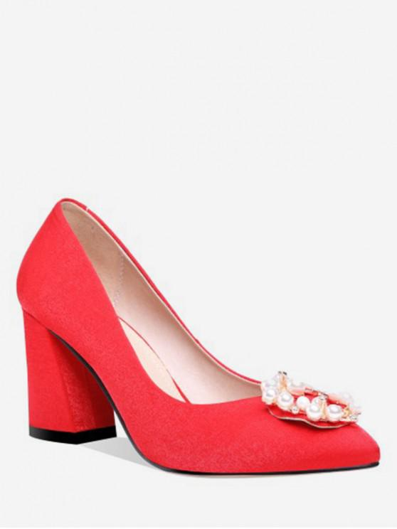 unique Beading Buckle Chunky Heel Pumps - RED EU 40