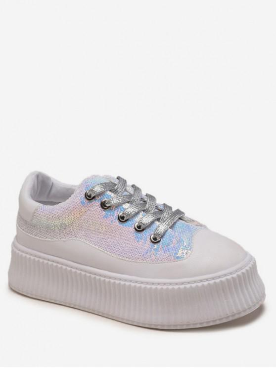 lady Sequined Low Top Platform Shoes - WHITE EU 38