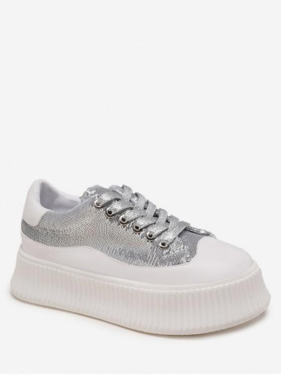 best Sequined Low Top Platform Shoes - SILVER EU 37