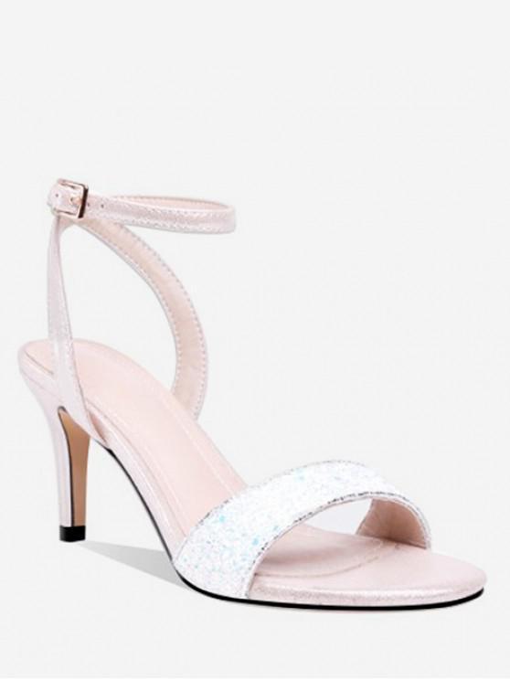 5cf7a0af201 36% OFF  2019 High Heel Glitter Sandals In WHITE