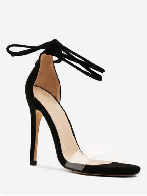 f850d365a04c0 38% OFF] 2019 Super High Heel Ankle Wrap Sandals In BLACK | ZAFUL