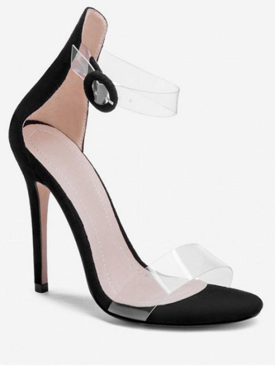 women's Clear Strap Super High Heel Sandals - BLACK EU 42
