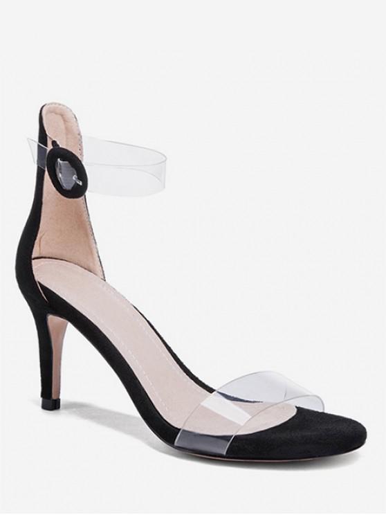 chic Clear Strap Stiletto Heel Sandals - BLACK EU 41
