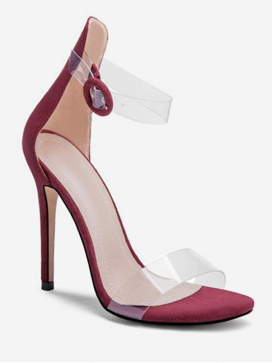 women's Clear Strap Super High Heel Sandals - RED WINE EU 37
