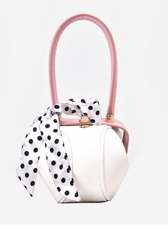 lady Polka Dot Ribbon Hasp Tote Bag - PINK