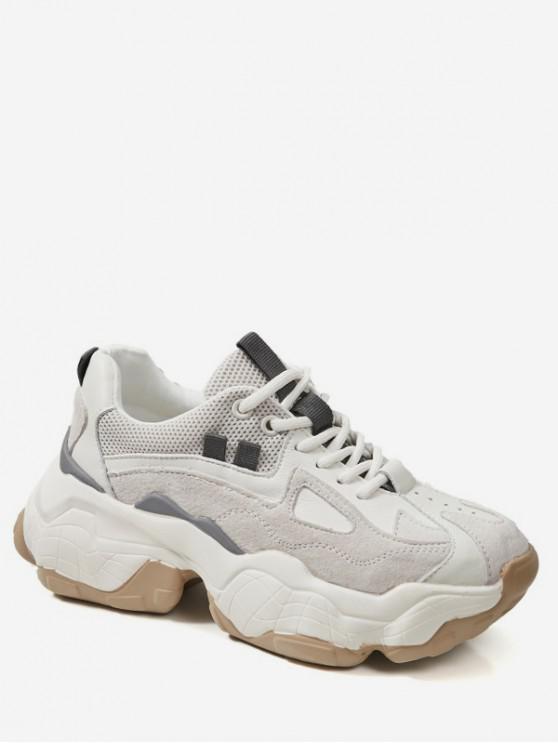 women Patch Lacing Platform Running Sneakers - WARM WHITE EU 39