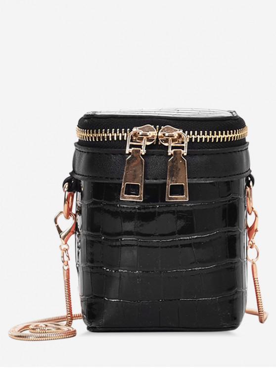 壓紋圖案拉鍊桶肩包 - 黑色