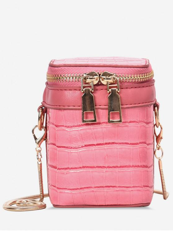womens Embossed Pattern Zipper Bucket Shoulder Bag - PINK