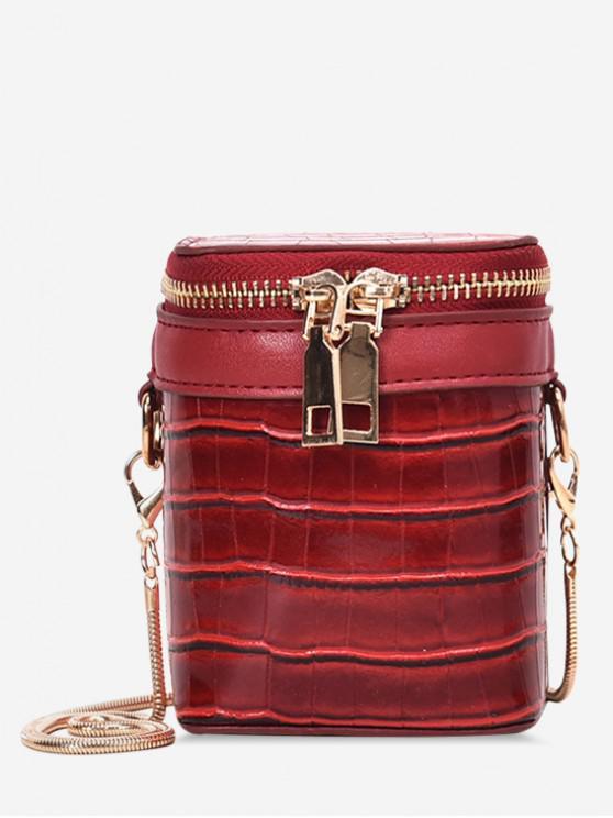 壓紋圖案拉鍊桶肩包 - 紅