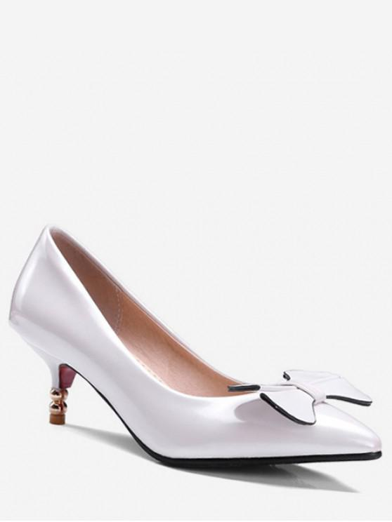 shops Bowknot Pointed Toe Low Heel Pumps - WHITE EU 41