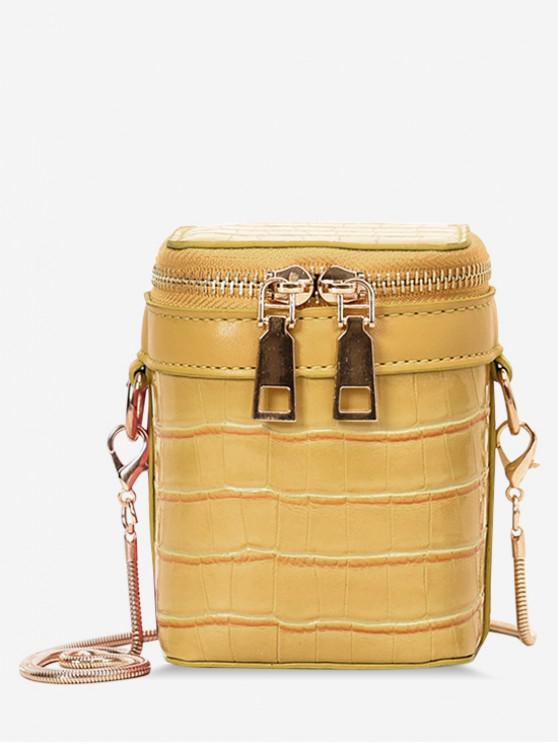 buy Embossed Pattern Zipper Bucket Shoulder Bag - YELLOW