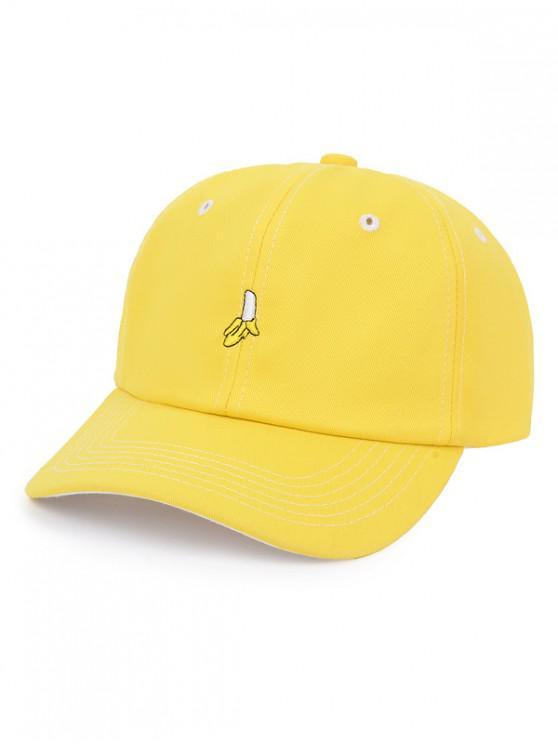 online Embroidered Banana Baseball Cap - YELLOW