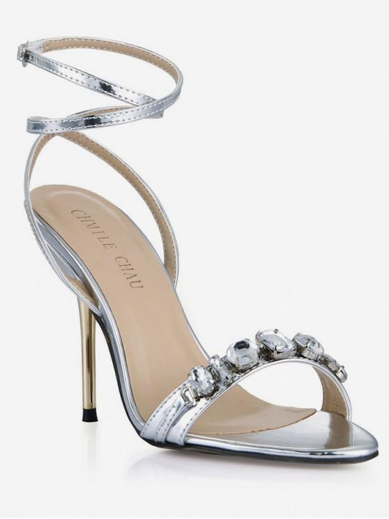 3697d3e72 28% OFF   NEW  2019 Rhinestone Detail Ankle Wrap Sandals In SILVER ...