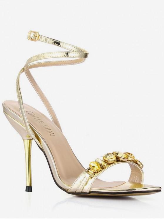 ladies Rhinestone Detail Ankle Wrap Sandals - GOLD EU 43