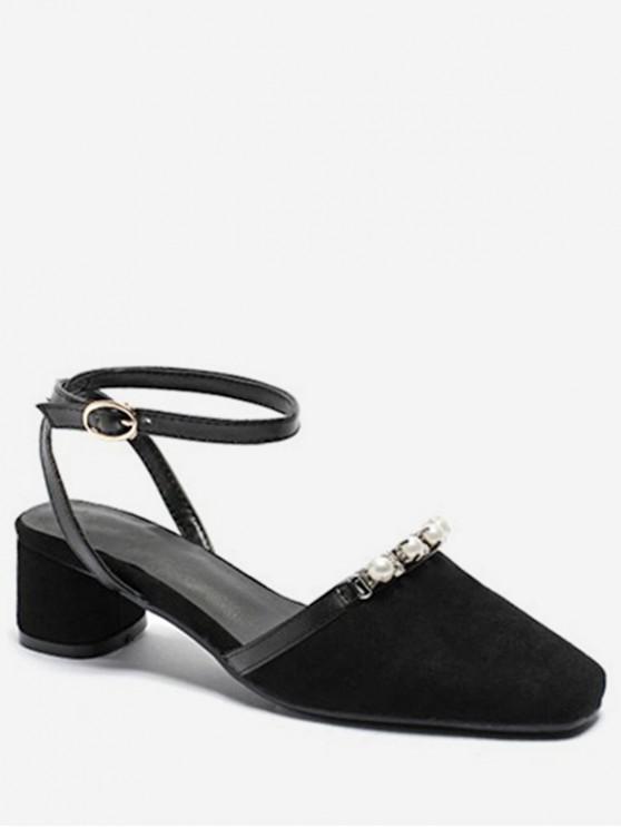ลูกปัดรองเท้าแตะส้นหนา - สีดำ EU 43