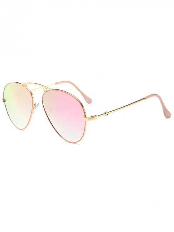 unique Gradient Metal Pilot Sunglasses - LIGHT PINK