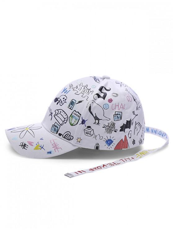 sale Cartoon Doodle Ribbon Baseball Cap - WHITE