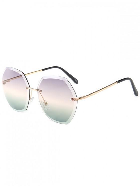 womens Ombre Irregular Rimless Sunglasses - MULTI-C