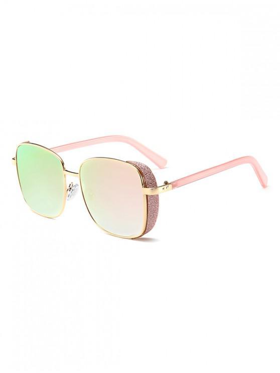 lady Metal Rim Square Sunglasses - LIGHT PINK