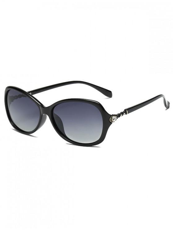 best Rhinestone Embellished Polarized Sunglasses - BLACK