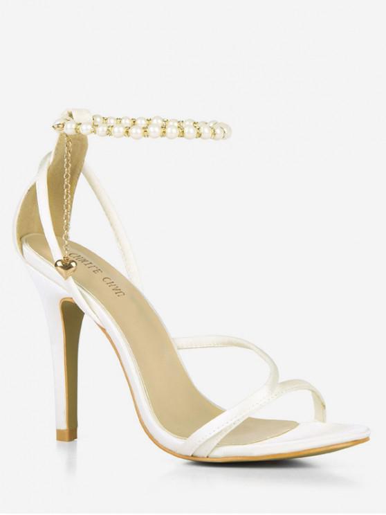 Grânulos Ankle Strap Heart Pendant Sandals - Branco UE 37
