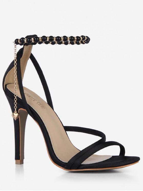 unique Beads Ankle Strap Heart Pendant Sandals - BLACK EU 43