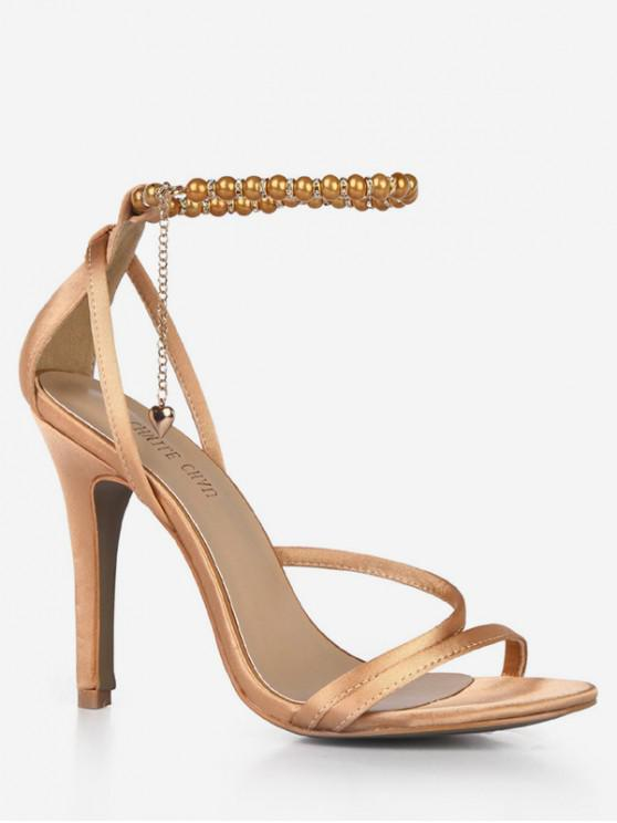 womens Beads Ankle Strap Heart Pendant Sandals - GOLD EU 35