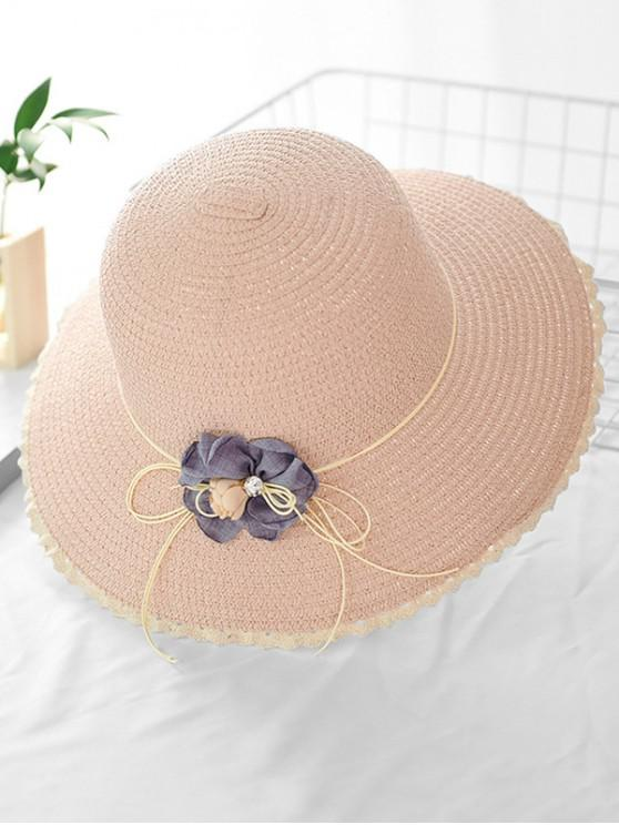 women's Lace Flower Bowknot Straw Hat - PINK