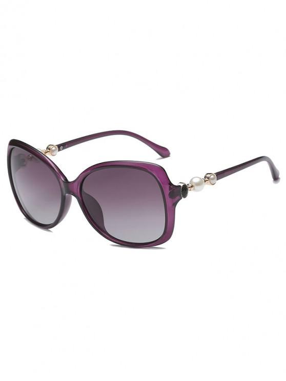 trendy Faux Pearl Decor Polarized Sunglasses - PURPLE