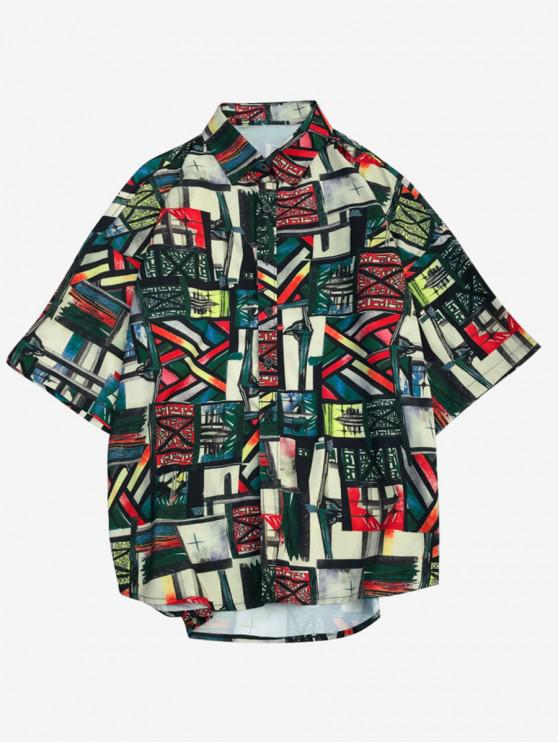 trendy Geometric Graphic Print Short Sleeves Shirt - MULTI L