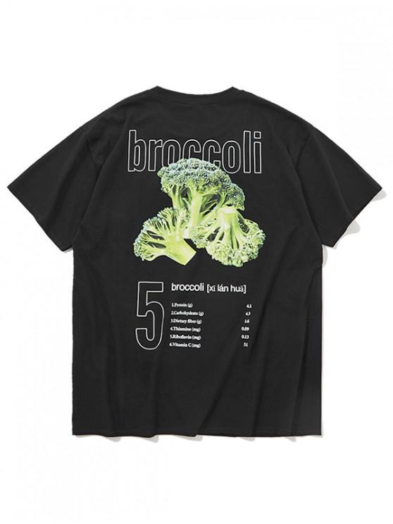 Letters Broccoli Print Lässiges T-Shirt - Schwarz M