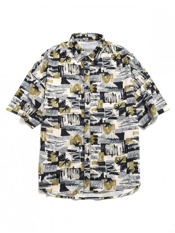 Geometrisches Blumenmalerei-Druck-Shirt - Sand L