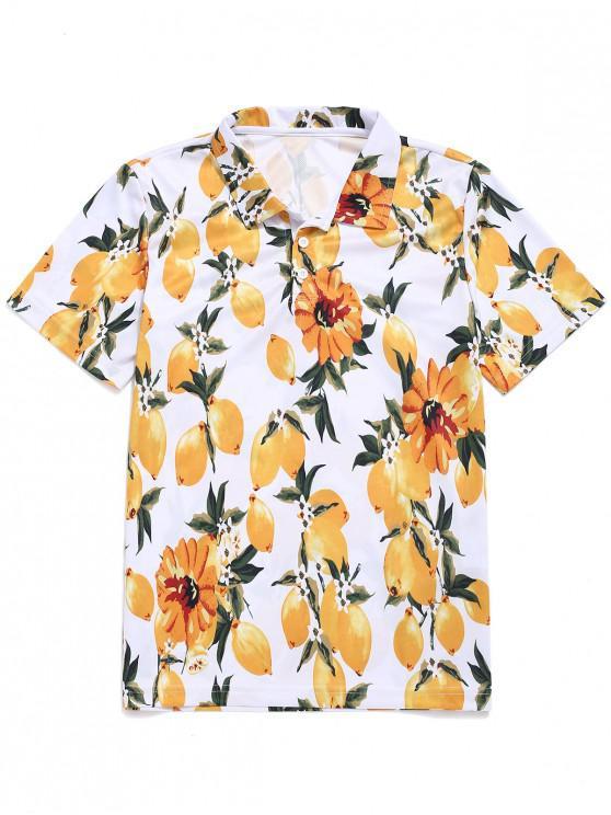chic Fruits Print Half Button T-shirt - WHITE S