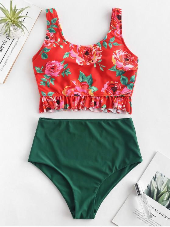 outfits ZAFUL Flower Ruffle High Waisted Tankini Set - MULTI-A M