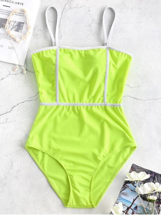buy Cami Piping One-piece Swimwear - GREEN YELLOW S