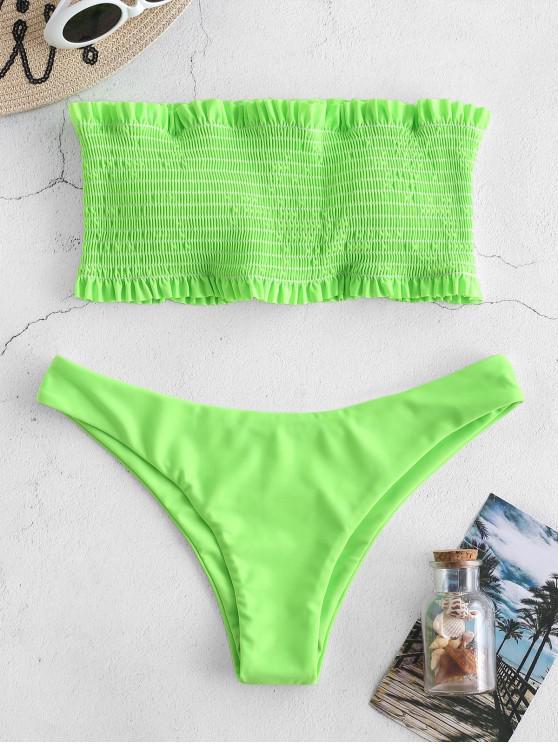 lady ZAFUL Smocked Ruffle Bandeau Bikini Set - CHARTREUSE S