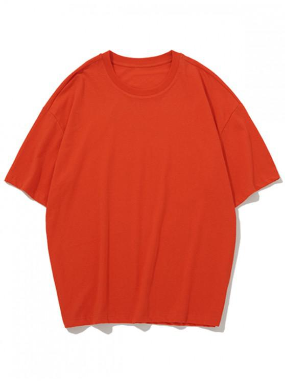 outfit Solid Color Round Neck Casual T-shirt - ROSSO RED L