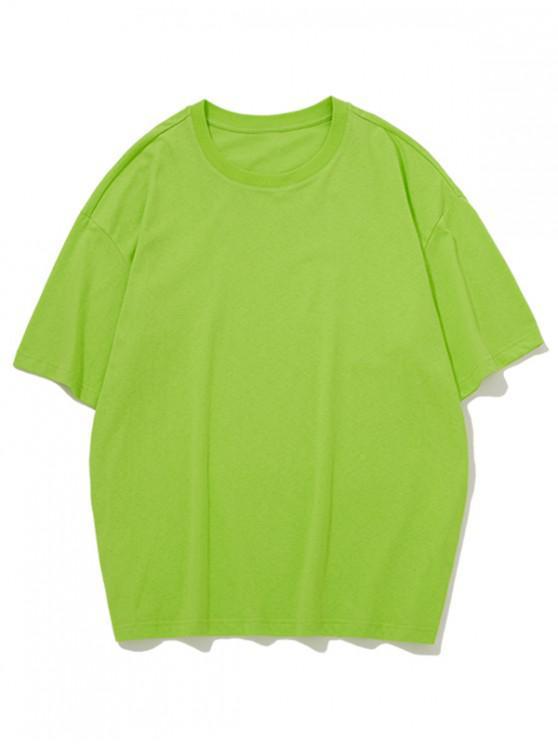 Camiseta Casual Cuello Redondo Color Sólido - Amarillo Verde L