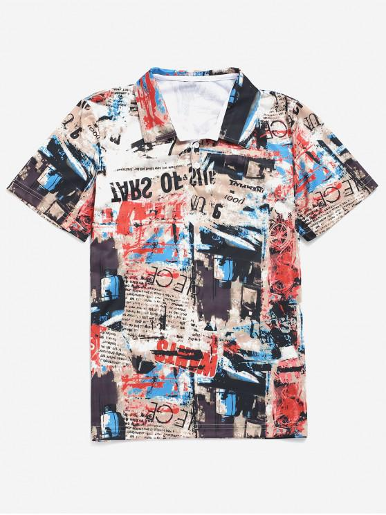 fashion Retro Painting Letters Print Graphic Tee - MULTI XS