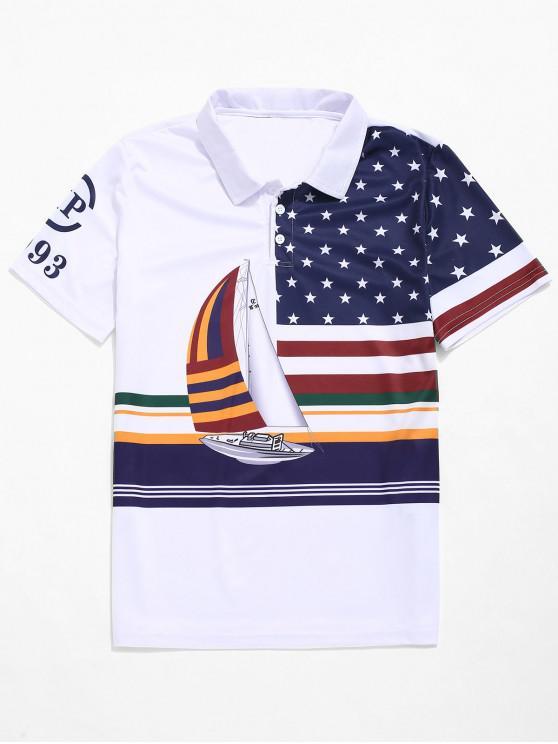 Segelboot -Beschriftet Amerikanisches Flaggendruck-T-Shirt - Weiß XS