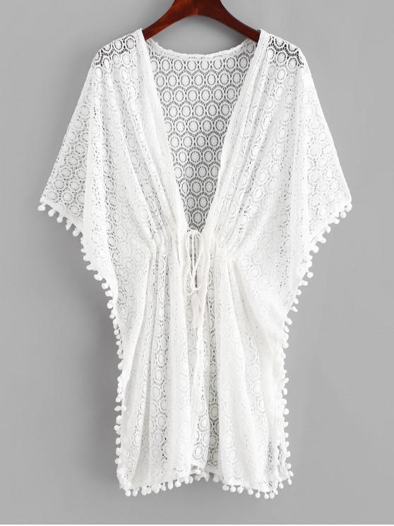 womens Crochet Pom Pom Butterfly Sleeve Cover Up - WHITE ONE SIZE