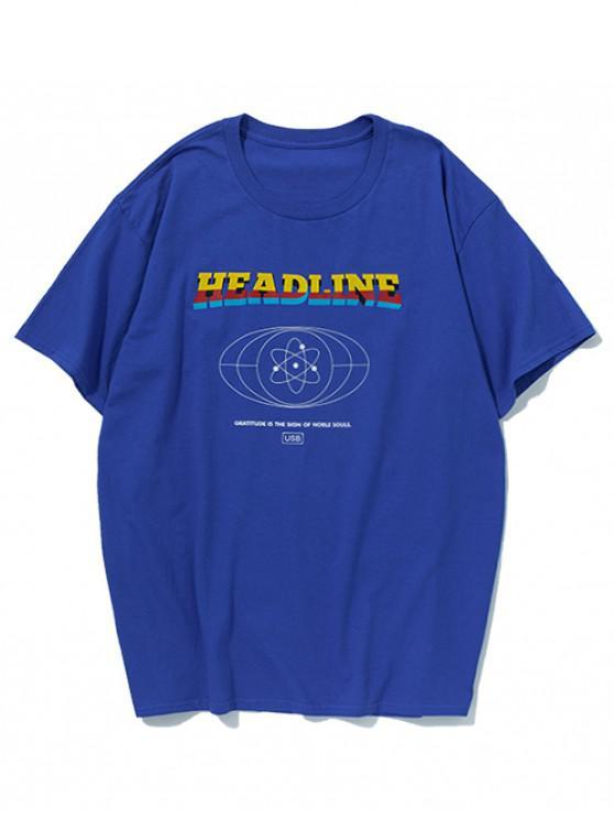 T-shirt décontracté à imprimé de lettres géométriques - Bleu Myrtille M