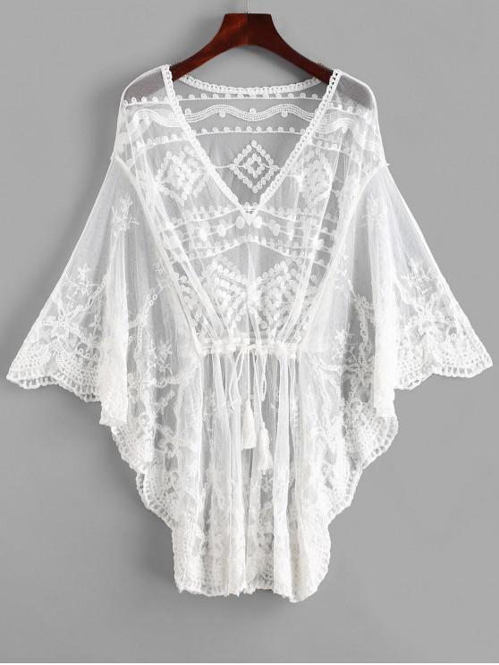 Borboleta manga crochet mini vestido de praia - Branco Um Tamanho