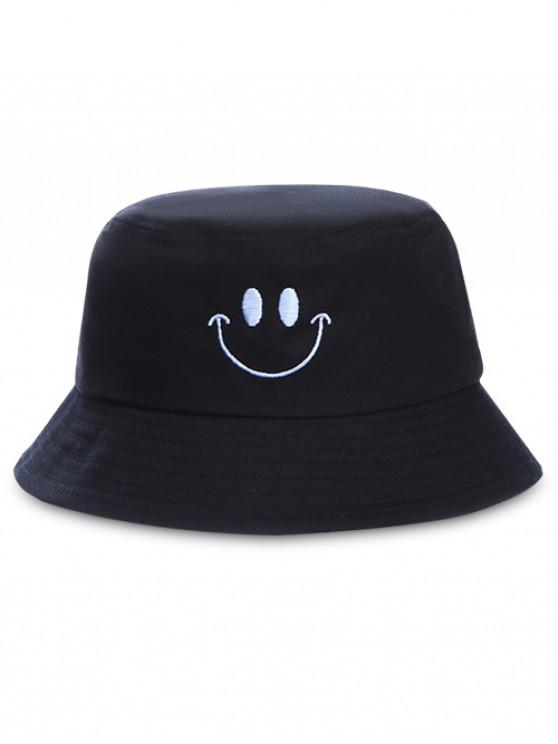 buy Embroidery Smile Face Bucket Hat - BLACK