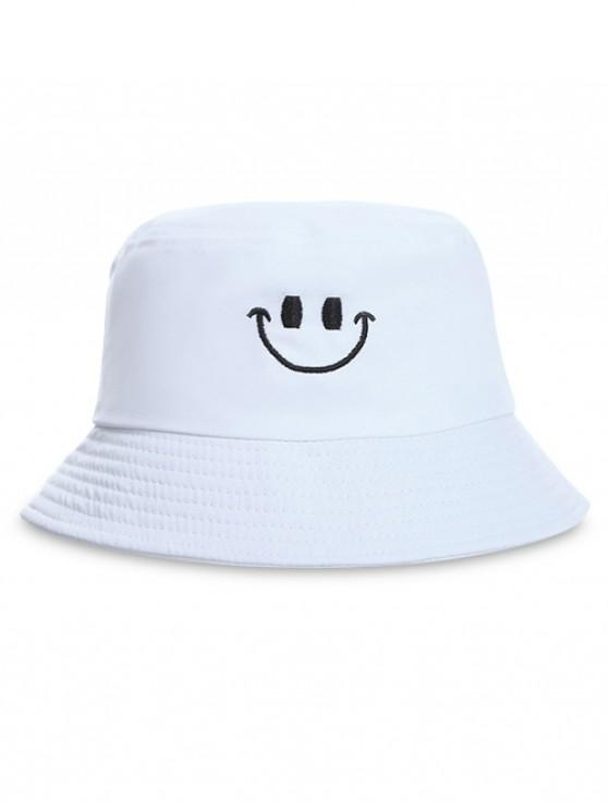affordable Embroidery Smile Face Bucket Hat - WHITE