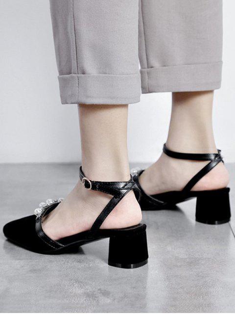 Sandales Perlées Bout Carré à Talon Epais - Noir EU 36 Mobile