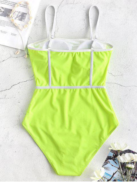 Cami Piping Traje de baño de una pieza - Verde Amarillo S Mobile